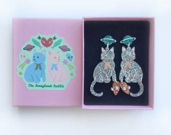 Medium Size Glittery Astro Kitty Dangle Stud Earrings - silver kitties, teal planet studs and rose gold mice