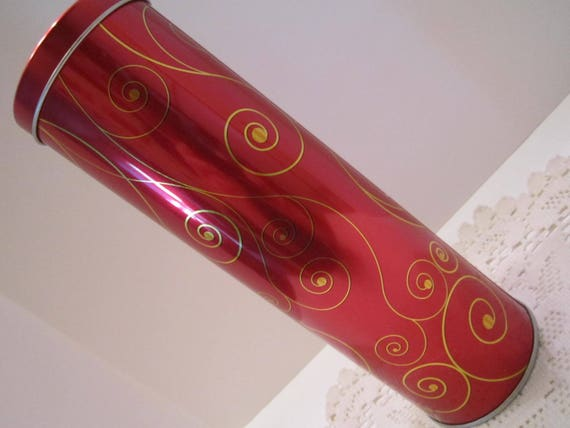 Stockmeyer Shortbread Cookie Tin - Red and Gold Scroll Design - Cookie Gift Tin Container