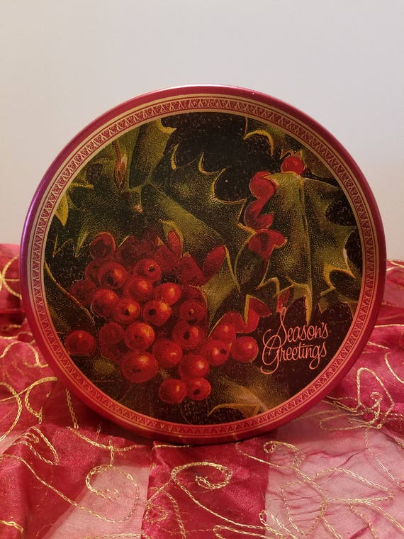 Beautiful Christmas Vintage Tin by Victoria Graphics Inc. 1994 - Holly Berry Design - Seasons Greetings - Large Christmas Cookie Candy Tin