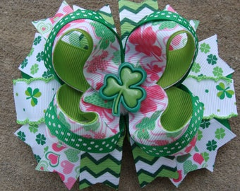 St. Patrick Hair Bow St. Pattys Hair Bow pink and green Hair Bow large boutique hair bow holiday hairbow shamrock hair bow large hair bow