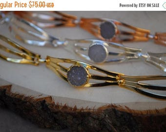 XMAS IN JULY Druzy Eye Bracelet  /// Gold, Silver or Rose Gold