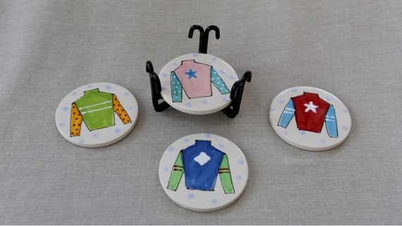 Jockey silk coaster set, Derby coaster set, horse racing coaster set with iron holder, Jockey silk coasters, Derby gift, Kentucky pottery