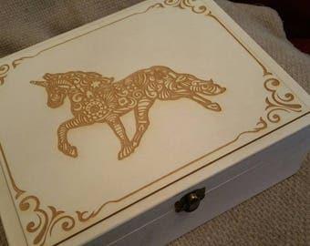 Unicorn Treasure Memory Box Unique Gift for Girls jewelry wooden keepsake trinket Her Birthday Anniversary Christmas Sister teenager Fantasy