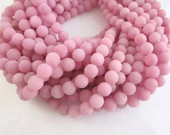 7% off Matte Beads, 10mm Pink Frosted Beads. Pink Matte agate Beads, Round beads, Pink gemstone Beads, Pink Beads