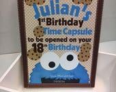 1st Birthday Time Capusule Keepsake box - Cookie Theme