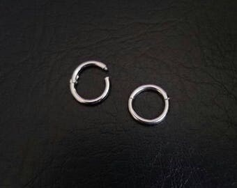 "14g 3/8"" (9mm) Titanium Seamless Clicker Hinged Ring Hoop body nostril forward helix tragus ear eyebrow septum nose smiley helix lip"