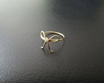 Bow wire ring Dainty Gold or Rose Gold Tie the knot ring  bridesmaid ring tarnish resistant wire finger ring minimalist jewelry