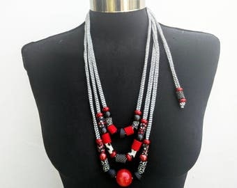 Black-white-red women summer new collection long textile necklace-soft fiber ethnic jewelry with recycle fabric/wood/acrilic beads-
