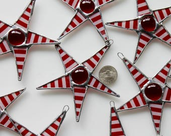 Tiny Red and White striped star with red cabochon center, stained glass star, 3.5 inches