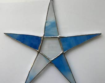 Sky Star- 9.5 inch azure blue and frosted white art glass- can be personalized