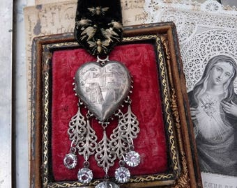 Antique French Virgin Mary Religious Collar, A Rare Marian Talisman for the Passionate, offered by RusticGypsyCreations