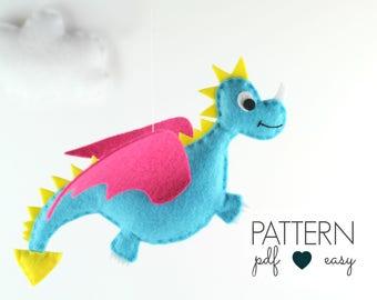 Dragon Sewing Pattern, Felt Dragon Plushie Pattern, Dragon Toy, Felt Dragon Pattern, Dragon Baby Mobile,  Dragon Ornament