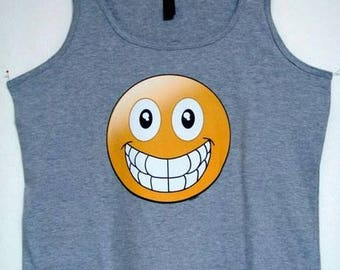 Womans TANK TOP Shirt Emoji Big Smile  Choose Size and Color 18521