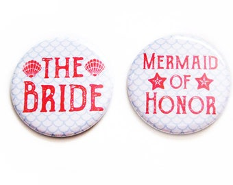 Bachelorette Party Favors Pinback Buttons Bride Mermaid Wedding Accessories