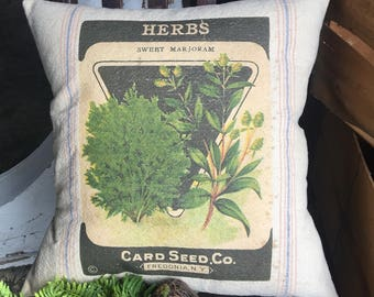 Grain Sack Pillow Cover Herbs by Gathered Comforts