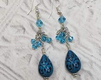 Blue Engraved Teardrop Earrings with Swarovski Crystals, Tear Drop Earrings, Drop & Dangle Earrings, Earrings, Blue, Silver Chain Earrings