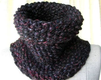 SALE BLACK STONE Chunky Cowl  Infinity Scarf in Soft wool blend.