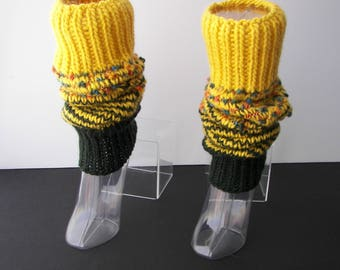 Hand Knit ART Thick Textured Long Leg Warmers in 100% WOOL Mohair / Lemon & Olive/ Wearable Fiber Art / SEAMLESS / Dance / Yoga