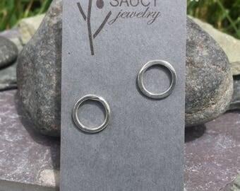 Sterling circle studs minimalist