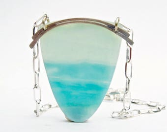 Amazonite Shield Necklace, Amazonite Pendant Necklace in Sterling