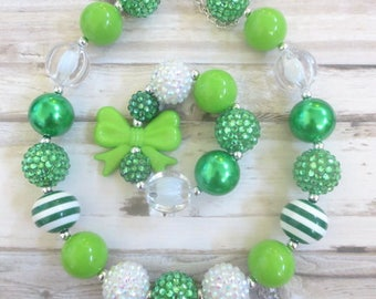 St Patricks Day Baby Necklace, Toddler Necklace, Girl Necklace, Baby Chunky Necklace, Baby Bead Necklace, Girl Jewelry, Girl Bracelet