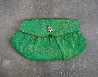 1950 green bag. Evening clutch. 50's metallic bag. Gold floral. crystal.