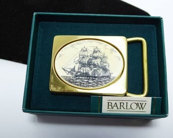 Barlow Faux Scrimshaw Ship Belt Buckle - Inlaid Creamy White Lucite with Black Sketch of a Sailing Ship - Solid Brass Buckle - Vintage 1980s