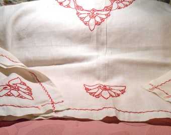 Vintage Cotton Tablecloth Red Embroidered