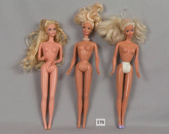 Vintage Barbie Dolls with Blonde Hair Blue eyes Open smiling mouths Earrings Excellent condition