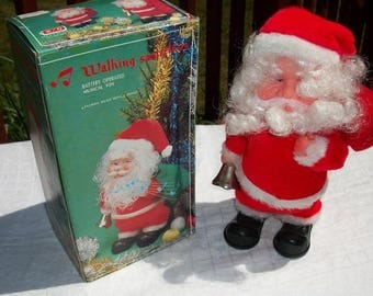 Vintage Battery Operated Walking Musical Santa in Original Box Retro