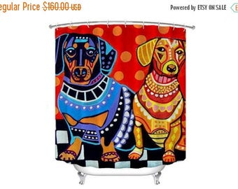 30% OFF Today  Dachshund Shower Curtain Doxie Dog Shower Curtain   Dog  Lovers Bathroom