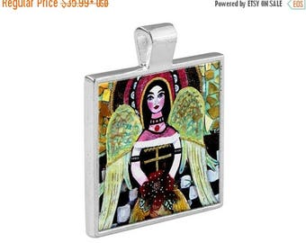 55% Off Today- Guardian Angel Necklace Mexican Folk Art Jewelry - Pendant Metal  Gift Art Heather Galler Gift Vegan Gifts