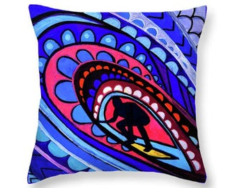 Hawaii Surfer Pillow Sunset Beach Art Print Poster of Painting by Heather Galler Nautical Zen Ocean Waves Colorful Surfing Surfboard Tube