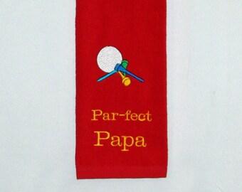 Papa Golf Towel, Funny Par, Custom Grandparent, Golfing Buddy Gift,  No Shipping Fee, Ships TODAY, SALE