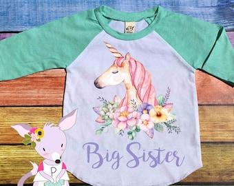 Big Sister Unicorn Shirt Floral Unicorn Big Sister Raglan Pregnancy announcement kids shirt big sister shirt girls sister to be shirt