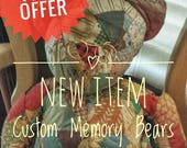 Limited Time Offer, Custom Made Memory Bear, Patchwork or Whole Shirt, Flannel Shirts, Loved Clothing, Baby Clothes, Teddy Bear, Full Size