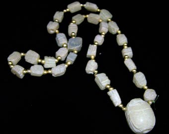 Egyptian Revival Carved Scarab Necklace, Cream Colored Stone, 23Inches, Gold Tone Beads, Vintage Jewelry 817