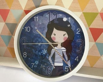 Illustrated wall clock * Poline Breizh *.