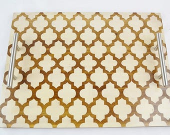 Quatrefoil Stained Wood Serving Tray, Coffee Tray, Tea Tray, Espresso Tray