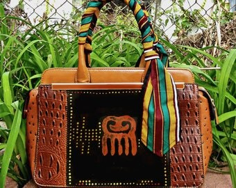 ON SALE: Professional African Print Handpainted Vegan Leather Handbag with Wrapped Kented Handle