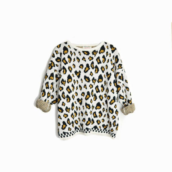 Vintage 80s Leopard Print Sweater / Animal Print Popover Sweater - women's medium