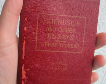 Friendship and Other Essays by HENRY DAVID THOREAU  - Miniature Book Little Leather Library 1920s Antique Vintage