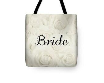 """Light Ivory """"Bride"""" Tote Bag, Shopping Bag, floral print, gift for bride bridal gift, bridal shower gift, destination wedding- 1610IVBRIDE"""