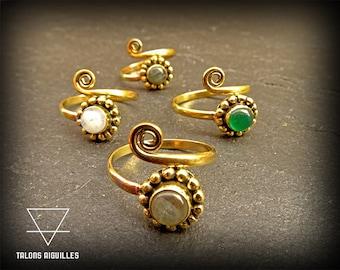 Bague de pied # Brass toe ring with semi precious stone # green onyx # moon stone # ladradorite #