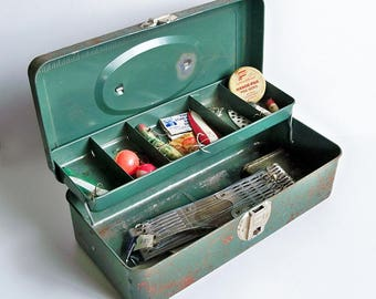 Mid Century Green Tackle Box full of Vintage Tackle - Lures and Other Fishing Gear