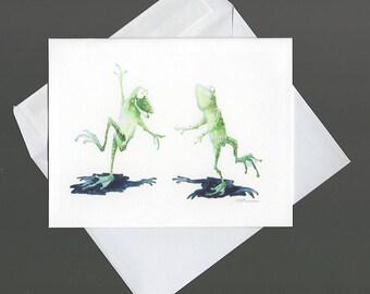 Note Card green frogs dancing portrait wildlife nature fun humor cute bowman blank inside notecard 4x6 happypaints corn dance
