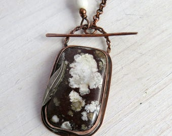 Wild Horse Stone Pendant Necklace - Brown Stone Pendant Necklace - Magnesite Pendant Necklace
