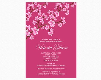 Cherry Blossom Bridal Shower Invitation, Personalized, Printable or Printed