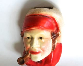 Vintage 1940s Chalkware Wall Mounted Match Holder! Vintage Kitchen!