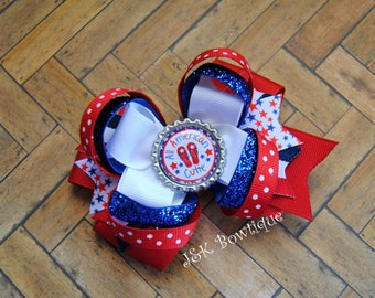 All American cutie, Double layer large classic bow...red, white and blue...4th of July